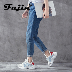 Fujin Brand 2019 Breathable Mesh Women Casual Shoes Vulcanize Female Fashion Sneakers Lace Up High Leisure Footwears 11.11