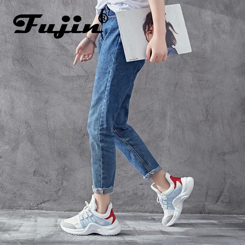 Fujin marca 2019 de malla transpirable zapatos casuales de las mujeres Vulcanize mujer Zapatillas de deporte de moda de alta de ocio calzado 11,11