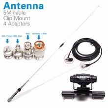 Nagoya NL-770R Walkie Talkie мобильного радио антенна PL259 + 5 м коаксиальный кабель клип гору + SMA-F SMA-M BNC SL16 разъем адаптера