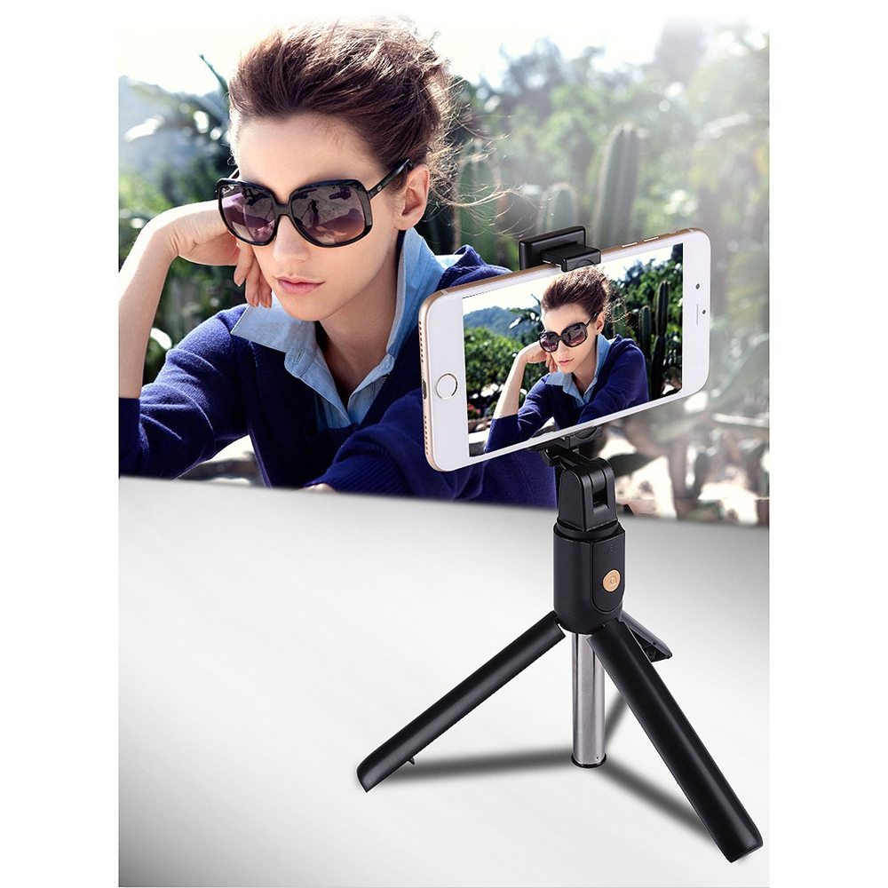 TDG K07 Selfie Stick with Tripod and Wireless Bluetooth Remote Black