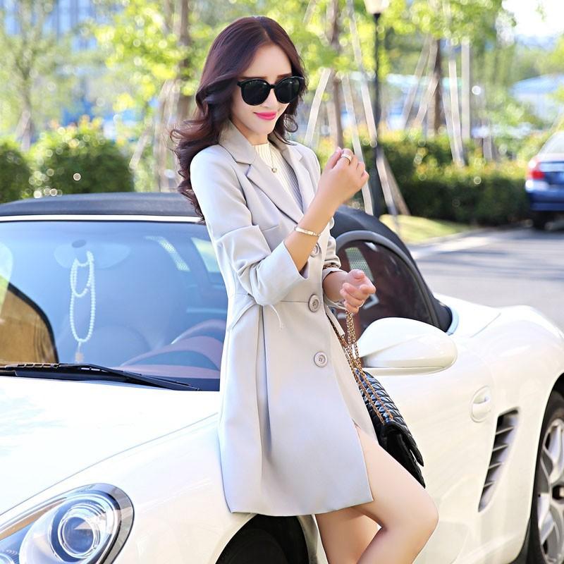 Super Pretty  Elegant Trench Coat Women Windbreaker Ladies Peplum Jacket Pink Grey Green Manteau Femme Silm Long Blazers c