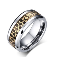Tungsten Gold Colorjewelry Hexagram Ring Fashion Tungsten Steel Ring Tungsten Steel Ring Wholesale TCR 025