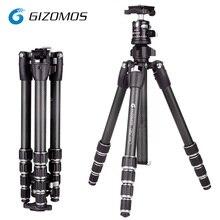 GIZOMOS GP-23C5 + GHA-30D Portátil Profissional Tripé De Fibra De Carbono e uma Bola De Cabeça Para Canon Nikon Sony