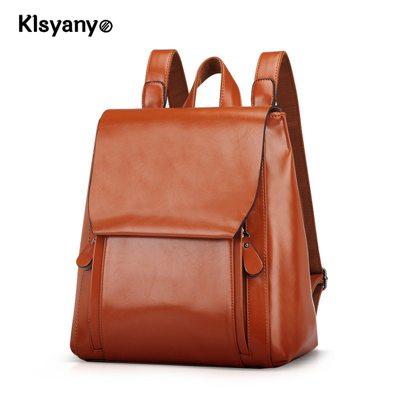 Klsyanyo Backpack Women Genuine Leather Bag Women Bags Cow Leather Girls Backpack Mochila Feminina School Bags for Teenagers fashion women leather backpack rucksack travel school bag shoulder bags satchel girls mochila feminina school bags for teenagers