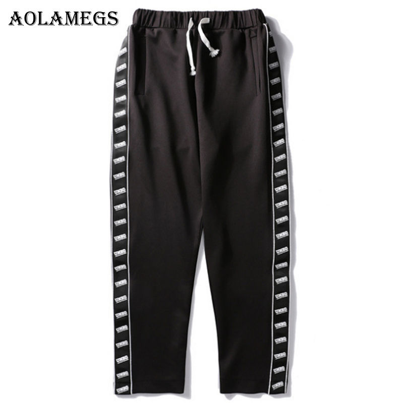Aolamegs Pants Men Side Letter Couple Pants Track Pants Male Straight Elastic Waist Casual Fashion Steetwear Joggers Sweatpants pocket side elastic waist pants