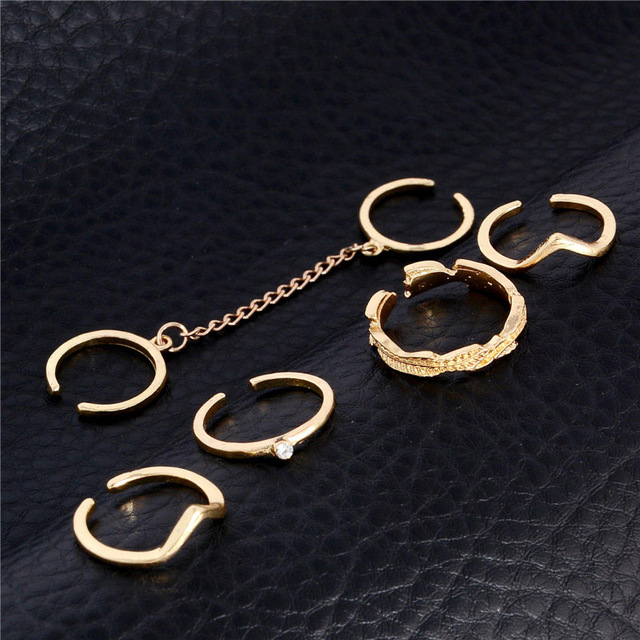 6pcs /lot  Punk style Gold plated  rings