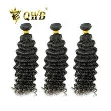 QWB, Envío Gratis, Deep Weave, 3 paquetes/lotes, relación profesional de 12 ~ 28 , Color natural brasileño virgen, 100%, extensión de cabello humano