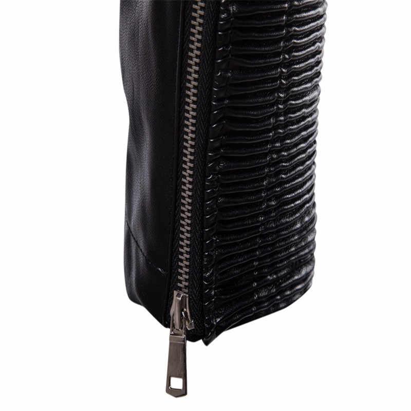 XIU LUO 2019 мужские осенние зимние винтажные мотоциклетные куртки верхняя одежда мульти молния искусственная кожа куртка Верхняя одежда Пальто