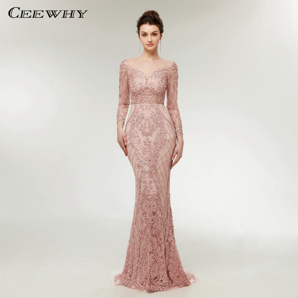 CEEWHY Luxury   Evening     Dress   Long Sleeves Mermaid   Evening     Dresses   Beaded Muslim Fashion Elegant Vintage   Evening   Gowns Prom   Dress
