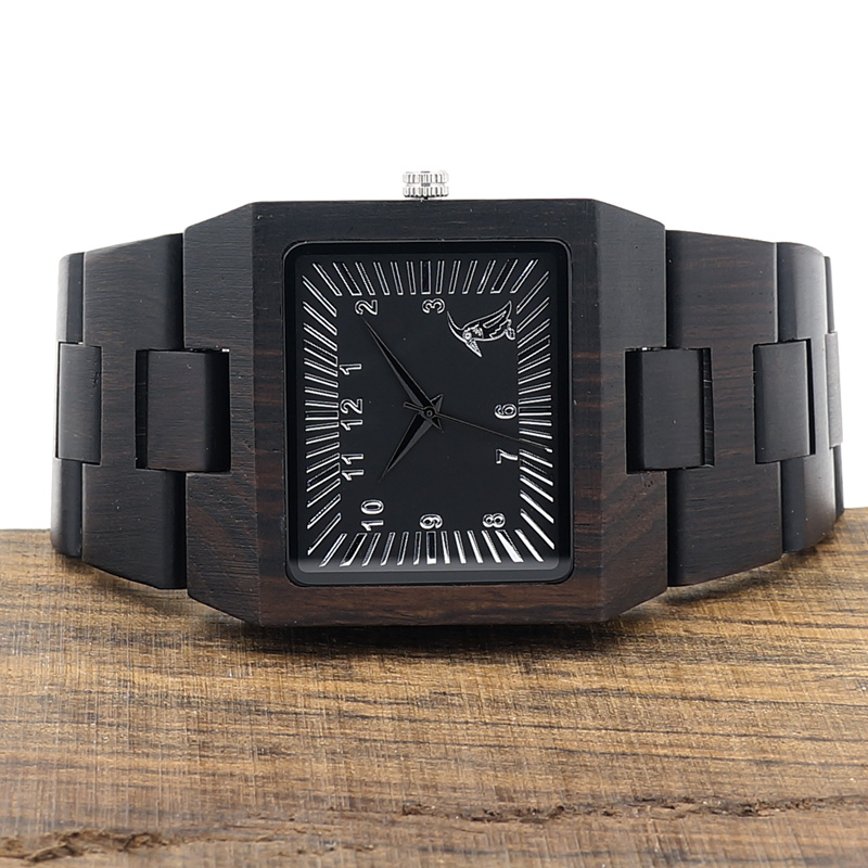 BOBO BIRD Ebony Trä Rektangel Quartz Armbandsur Man Top Luxury Band - Herrklockor - Foto 4