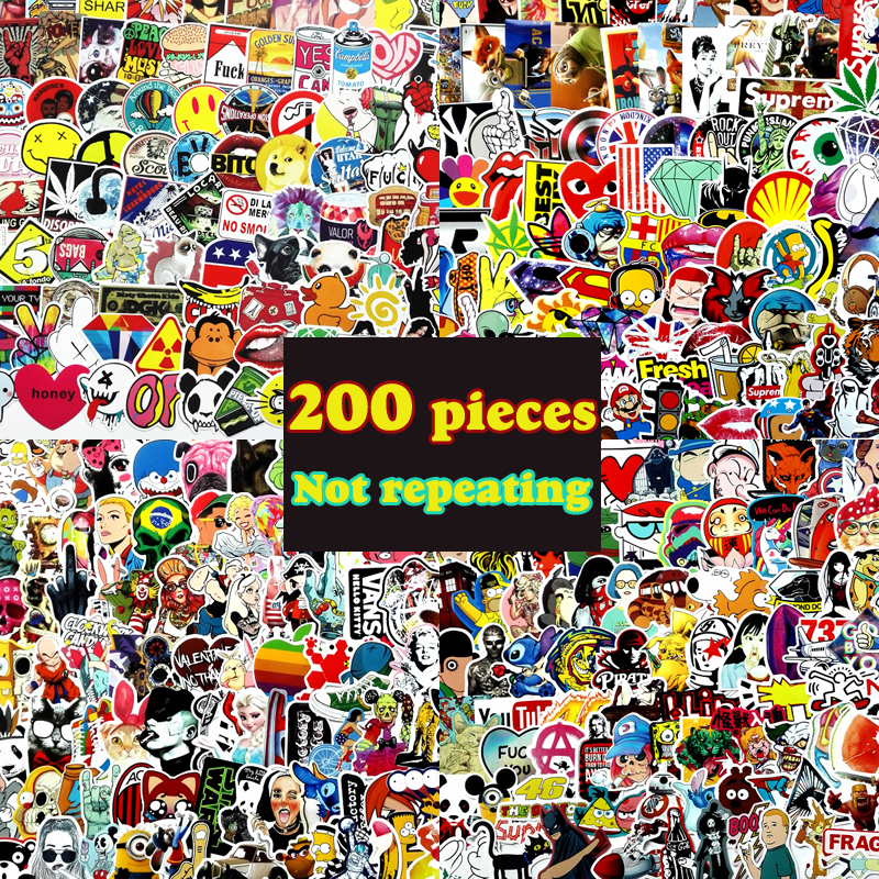 200pcs not repeating waterproof stickers for Home decor Travel Suitcase Wall Bike fridge Sliding Plate Car Styling sticker fashion letters and zebra pattern removeable wall stickers for bedroom decor