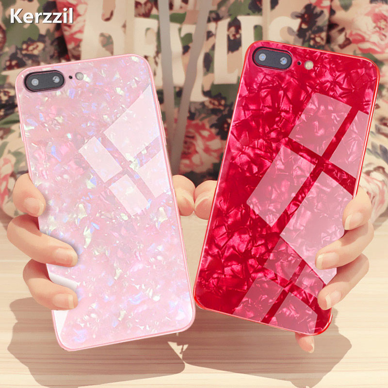 Kerzzil Luxury Conch Shell Glitter Phone Case For iPhone X XR XS Max Tempered Glass Cover For iPhone 7 8 6 6s Plus Back Capa iphone 6 plus kılıf