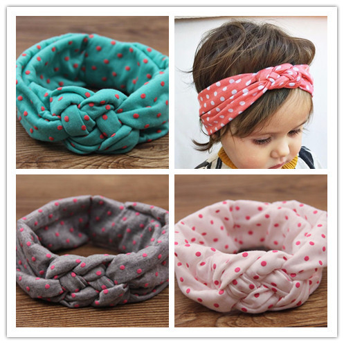 newborn baby girl cotton turbante fabric elastic hair band dots knot headwear turban hairband baby elastic bandanas headband