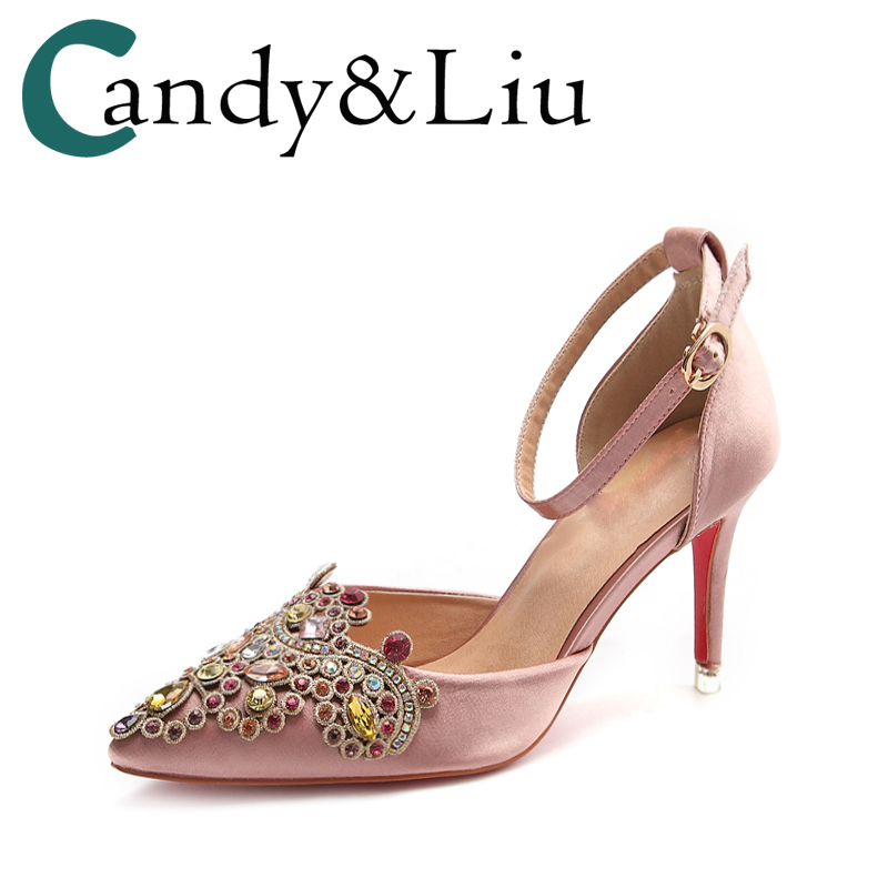 Wedding Pumps With Buckle Ankle Strap Rhinestone Bling Female Stiletto Heels Crystal Pink Red Silver Satin Beautiful Women Shoes dress tassel fringe glitter glittering stiletto high ankle strap heels sequin rhinestone wedding women shoes pumps gold red page 9