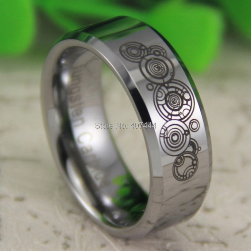 Free Shipping Usa Uk Canada Russia Brazil Hot S 8mm Silver Beveled Super Doctor Who Time New Men Tungsten Wedding Ring In Bands From Jewelry