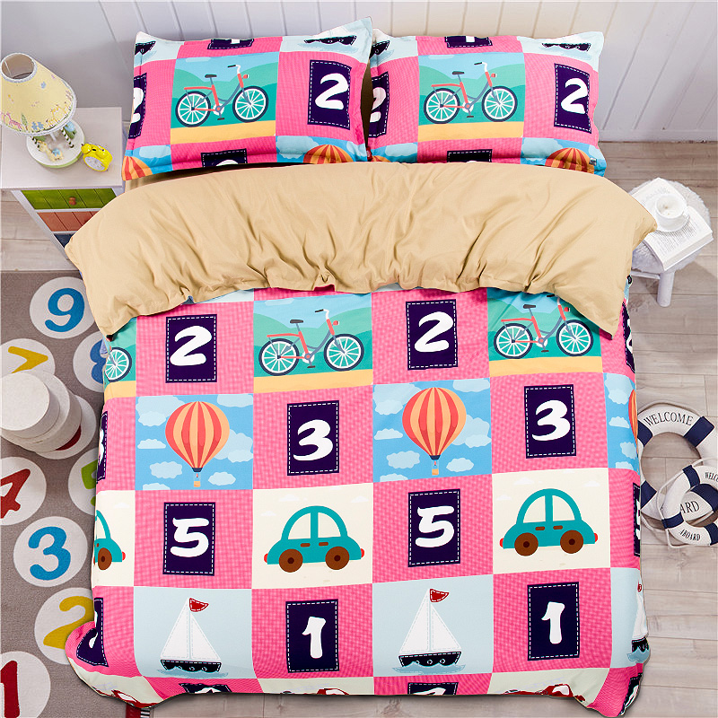 plaid comforter duvet quilt cover double queen single king twin kids figure pink korean bedding set - Twin Quilts