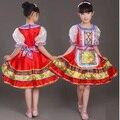 Envío libre de los bebés rojo Tradicional ruso traje nacional de actividades Del Festival etapa trajes de baile vestidos para niños