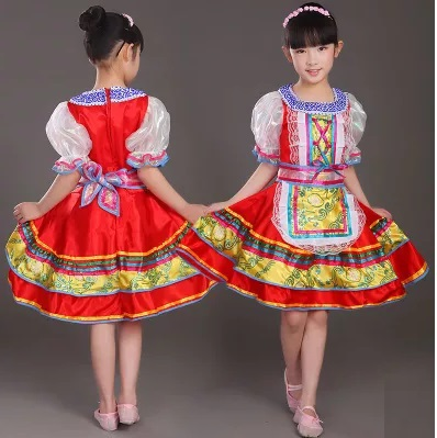 Free shipping baby girls red Traditional russian national costume activities Festival stage dance costumes dresses for kids
