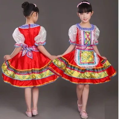 f15450fa269e Free shipping baby girls red Traditional russian national costume  activities Festival stage dance costumes dresses for kids