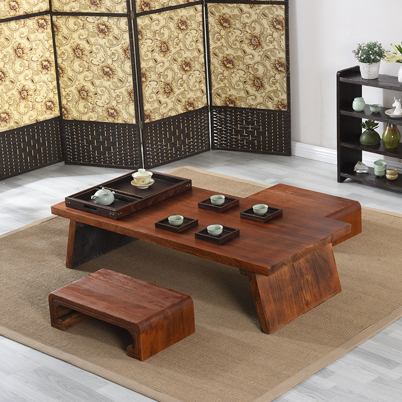 Asian japanese chinese wood table rectangle 120x55cm for Table japonaise