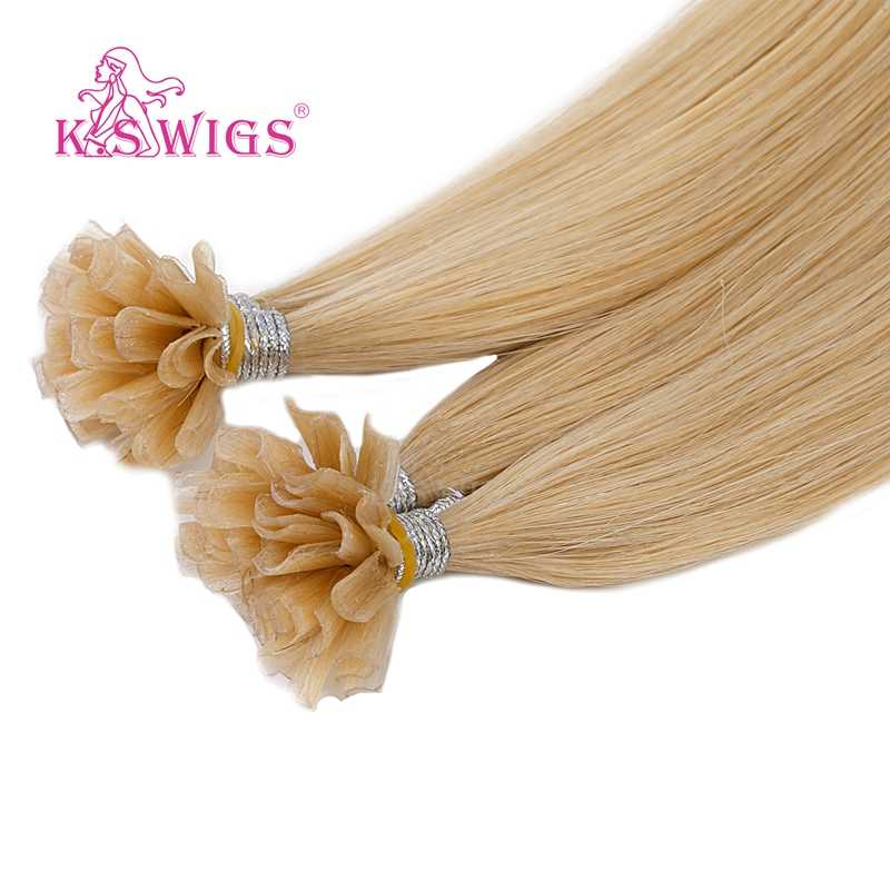 K.S peruk 16 ''20'' 24 ''28'' düz Remy tırnak U ucu insan saçı postiş ön gümrük Keratin kapsül fusion İnsan saç