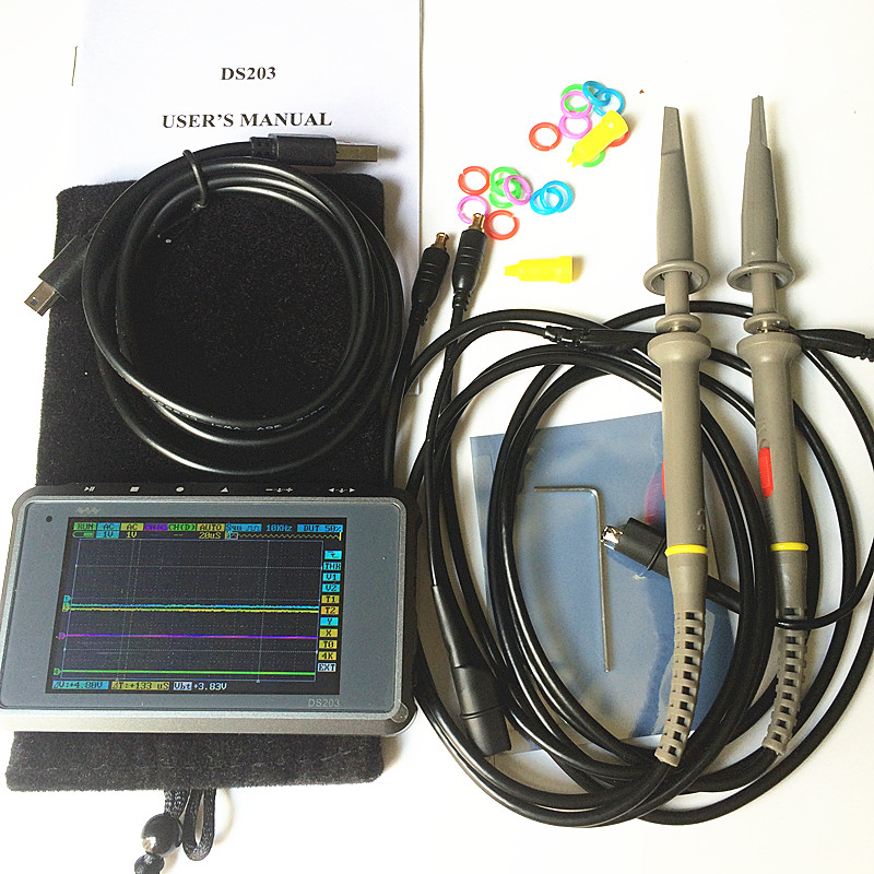 DSO203 Digital Handheld Oscilloscope ARM Cortex Quad 4 Channels 72MHz Mini Nano  8M Flash dso 2 probes with battery  цены