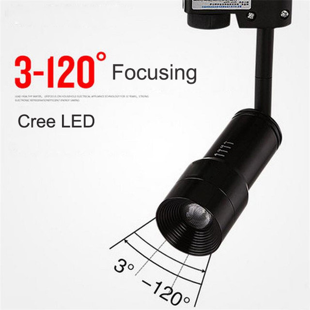 2017 New zoom led track lights 3W 6W Cree LED spotlights zoomable backdrop clothing store rail lamp lumiere sur rail ceiling