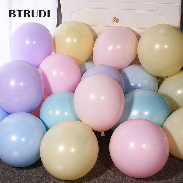BTRUDI 30pcs/lot 5 Inch Macarons Color Double Layer Latex Round Inflatable Balloon For Birthday Party Decoration/Wedding/Engage