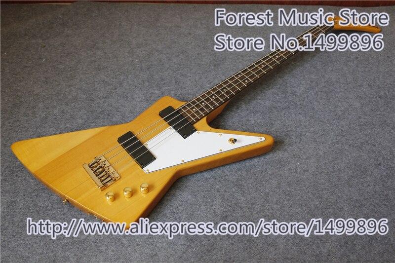 ¡Venta caliente China Oro Hardware Explor! Suneye 4 Cuerdas bajo guitarra Basswood guitarra cuerpo para la venta