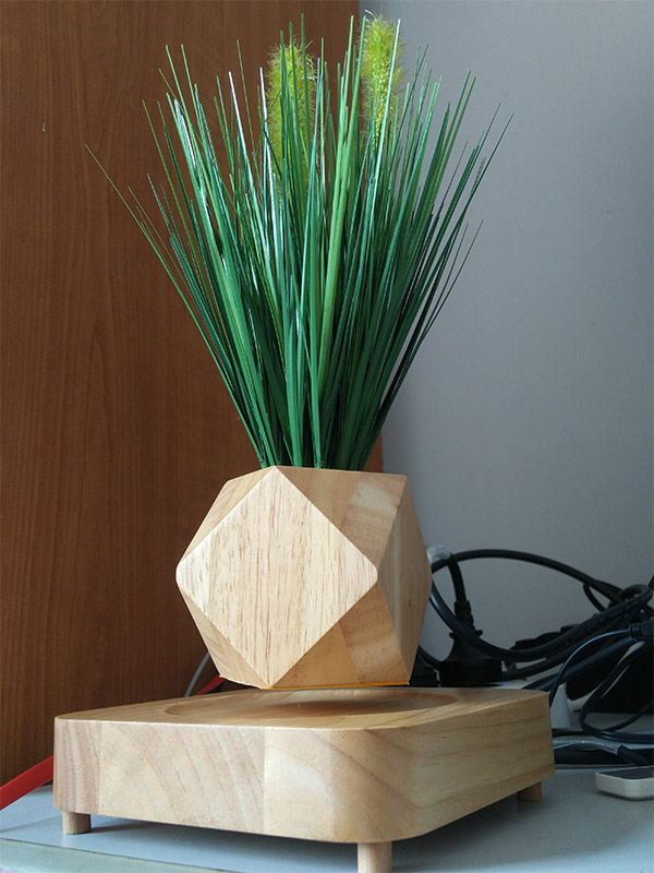 High-end north european style Magnetic Levitation Air Floating Bonsai Plant Pot wood material Floating Flower Plant Pot