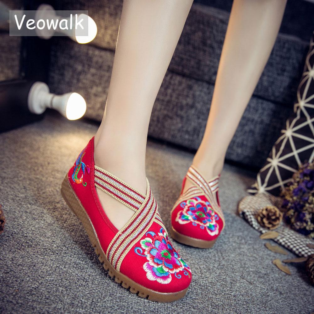 Flache Damenschuhe Ausdrucksvoll Veowalk Handgemachte Mode Frühling Frauen Schuhe Chinesische Casual Wohnungen Für Frauen Blume Bestickt Denim Schuhe Zapatos Mujer Frauen Schuhe