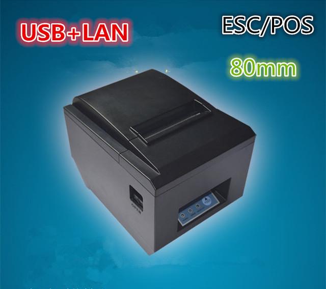 Código de barras impresora de cocina impresora térmica puerto de red + puerto USB impresora paperautomatic corte 80 MM cocina pequeña impresora de tickets