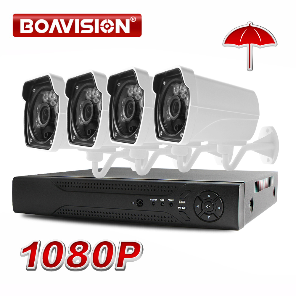 1080P AHD Camera Surveillance System 2000TVL Outdoor CCTV 4CH 1080P AHD DVR Hybrid Kit 4*1080P Security Camera System BOAVISION