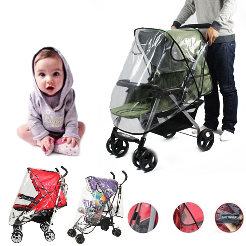 Baby Stroller Accessories Universal Waterproof Rain Cover Wind Dust Shield Pushchair Cover Baby Carriage Wheelchair Rain Cover stroller rain cover waterproof cover universal twins baby stroller rain cover windproof baby carriage stroller accessories