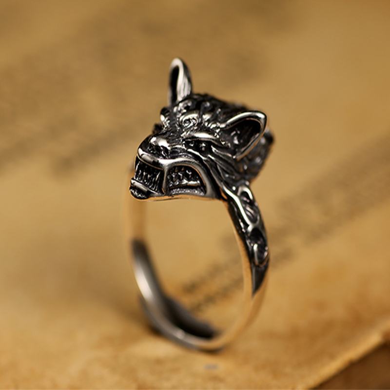 ZABRA Cool 925 Silver Female Ring Retro Black Wolf Animal Small Rings For Men Vintage Punk Gothic Sterling Silver Jewelry