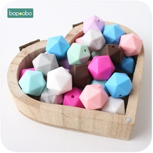 Bopoobo Baby New Silicone Hex Octagonal Beads 17mm 10pc Can Chew Beads Shower Gift DIY Crafts Sensory Chewing Toy Baby Teether