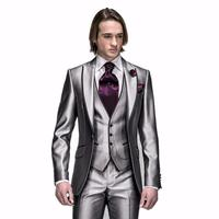 2017 Shinny Silver Best Man Groom Tuxedos Wedding Suits Prom/Formal Suits Formal Party Wear Suits (Jacket+Pants+Vest+Tie+Square)