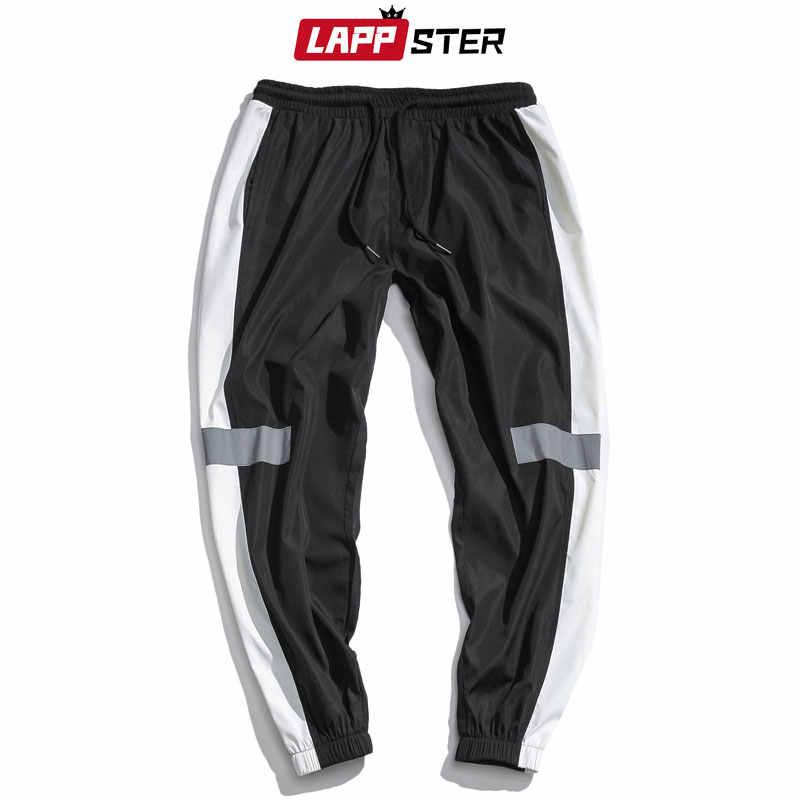 Lappster Mannen Streetwear Reflecterende Joggers Broek 2020 Man Koreaanse Mode Hip Hop Joggingbroek Paar Side Gestreepte Broek 5XL