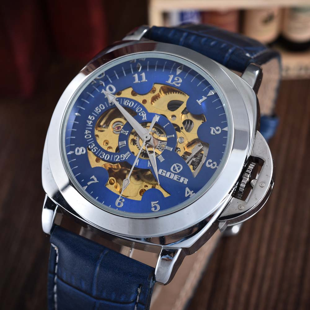 GOER Blue Mechanical Skeleton Watch Läderrem Automatiska - Herrklockor