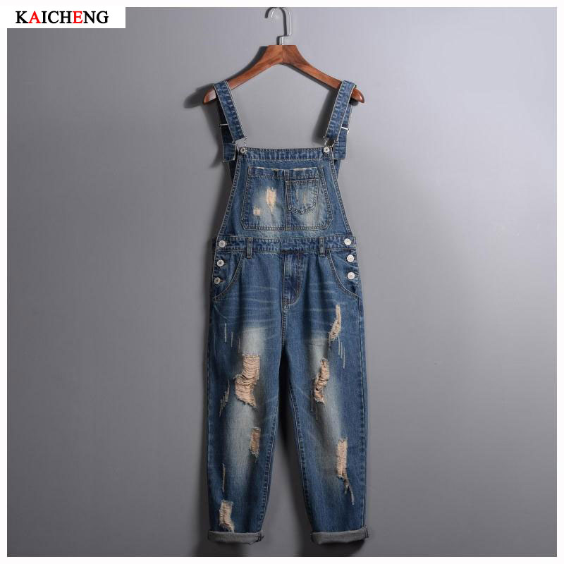 Mens 2017 New Fashion Brand Hole Denim Bib Jeans Man Cool Stylish Jeans Jumpsuits Overalls Men Rompers Size S-2XL
