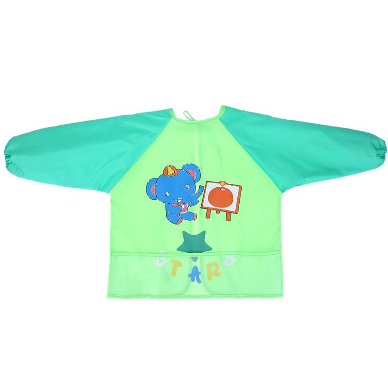 Baby Bibs Children Cartoon Drawing Eating Feeding Cloth Long Sleeve Infant Bib Apron Baby Burp Cloths
