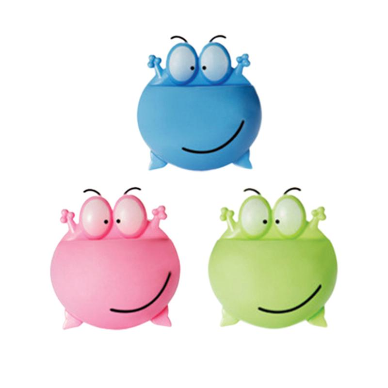 Image 2 - 3pcs Wall Mounted Toothbrush Holder Cartoon Big Eye Frog Design Toothbrush Organizer Rack For Home Bathroom (Green+Blue+Pink)-in Toothbrush & Toothpaste Holders from Home & Garden