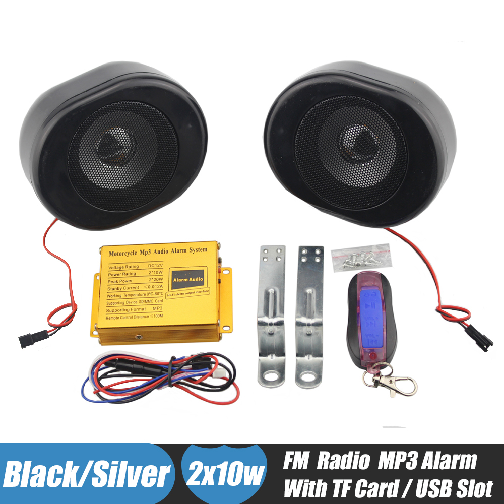 Black Motorcycle MP3 Speakers Alarm System Handlebar Stereo Audio FM Radio TF Card USB Music Player Anti-theft Security Alarm mtsooning motorcycle mp3 player atv audio music system support usb 12v motorbike fm radio with speakers motorcycle music player