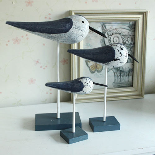 Mediterranean Style Wooden Clapper Seabirds Wood Carving desktop household <font><b>decor</b></font> <font><b>Home</b></font> <font><b>Decor</b></font> Crafts F 3pcs/lot