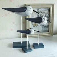 Mediterranean Style Wooden Clapper Seabirds Wood Carving desktop household decor Home Decor Crafts F 3pcs/lot