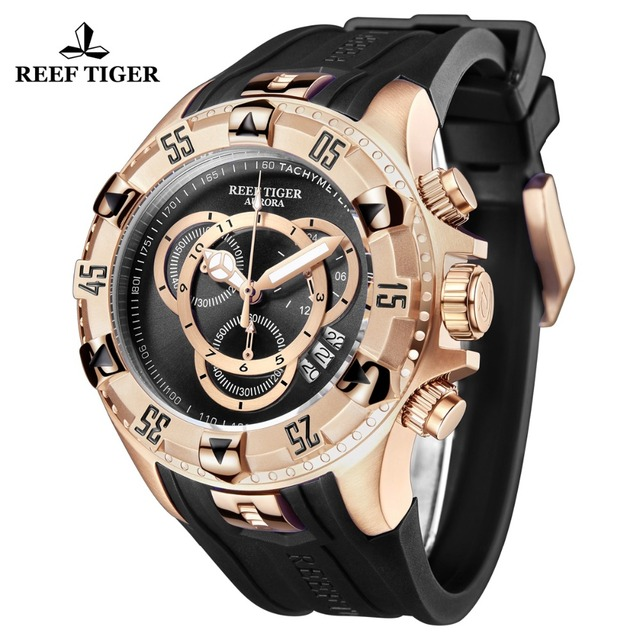 Reef Tiger/RT Top Brand Luxury Sport Watch for Men Rose Gold Blue Watch Rubber Strap Fashion Watches Reloj Hombre 2019 RGA303-2