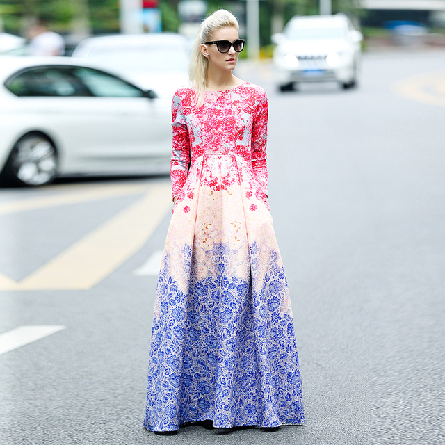 e5f38149f341 2018 Spring Summer Runway Maxi Long Dress Women Sweet Gradient Floral  Printing Celebrity Party Ball Gown Dress PLUS SIZE 4XL