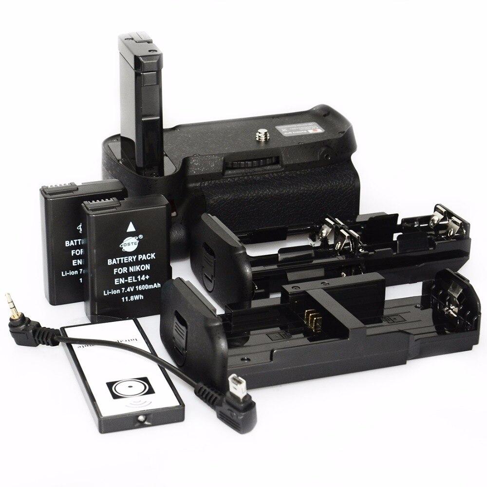 DSTE вертикальный батарейный блок для фотокамер Nikon D3100 D3200 D3300 D5300 батарея рукоятка держатель дистанционного управления с 2 шт. EN-EL14