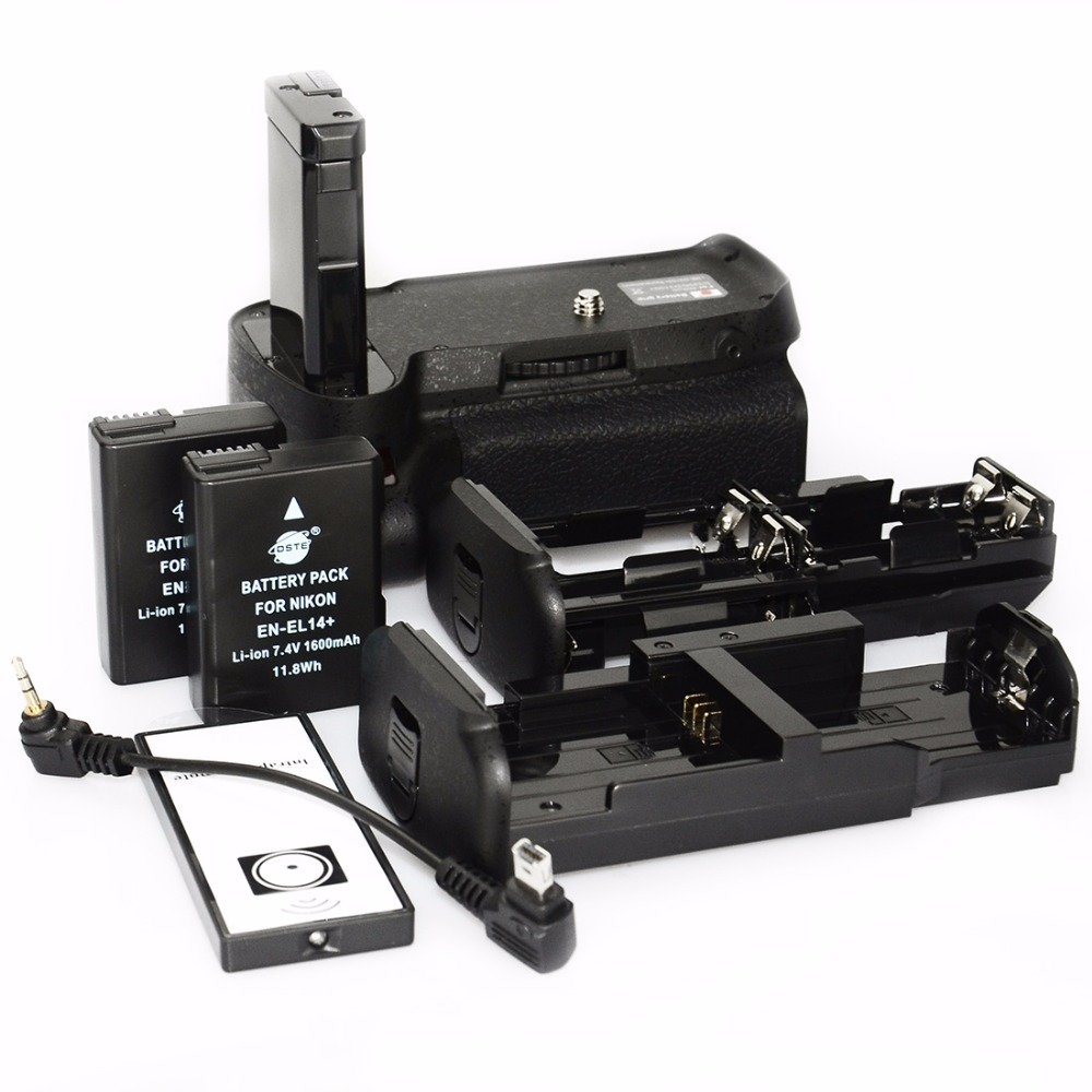 DSTE Vertical Battery Grip for NIKON D3100 D3200 D3300 D5300 Camera Battery Handgrip Holder Remote Control With 2PCS EN-EL14