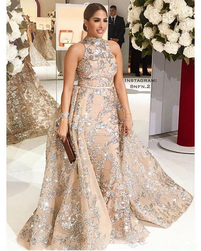 Champagne Robe De Soiree 2019 Mermaid High Collar Lace Sequins Muslim Arabic Sexy Long   Prom     Dresses     Prom   Gown Evening   Dresses